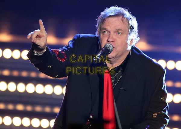 MEAT LOAF (Michael Lee Aday).On Wetten, dass..?, Friedrichshafen, Germany..December 3rd, 2011.half length black suit jacket red tie on stage in concert live gig performance performing music singing hand arm.CAP/PPG/WS.©Willi Schneider/People Picture/Capital Pictures