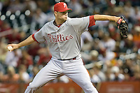 Philadelphia Phillies pitcher Ryan Madson delivers a pitch against the Houston Astros on Turn Back the Clock Nite. Game played on Saturday April 10th, 2010 at Minute Maid Park in Houston, Texas.  (Photo by Andrew Woolley / Four Seam Images)