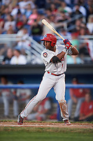 Auburn Doubledays center fielder Armond Upshaw (8) at bat during a game against the Batavia Muckdogs on July 4, 2017 at Dwyer Stadium in Batavia, New York.  Batavia defeated Auburn 3-2.  (Mike Janes/Four Seam Images)