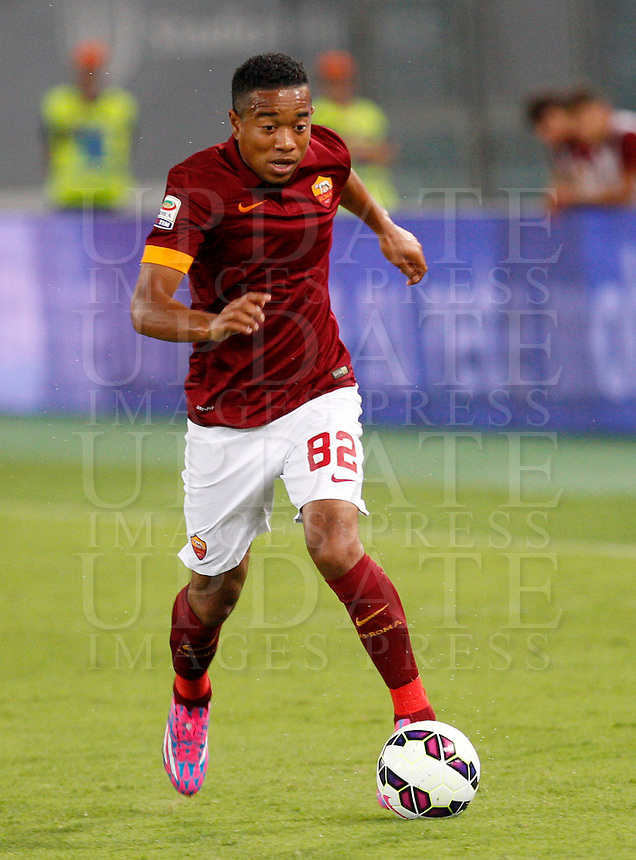 Calcio, amichevole Roma vs Fenerbahce. Roma, stadio Olimpico, 19 agosto 2014.<br /> Roma defender Urby Emanuelson, of the Netherlands, in action during the friendly match between AS Roma and Fenerbache at Rome's Olympic stadium, 19 August 2014.<br /> UPDATE IMAGES PRESS/Riccardo De Luca