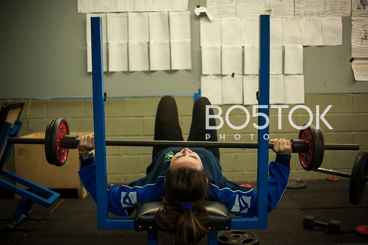 Laura Goldaracena, a female rower on San Juan rower Club on a workout session in the club's gym. Pasaia (Basque Country). January 26, 2017. (Gari Garaialde / BostokPhoto)