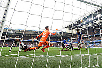 GOAL - Alvaro Morata of Chelsea (right) scores his team's second goal of the game to make the score 2-1 during the Premier League match between Chelsea and Newcastle United at Stamford Bridge, London, England on 2 December 2017. Photo by David Horn.