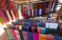 Laos. Ban Xang Hai at the Mekong. Traditional weaving.