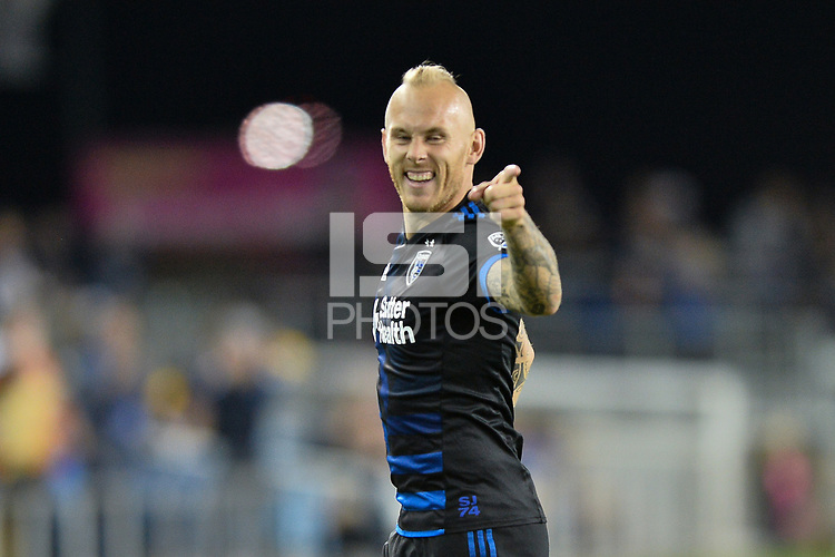 San Jose, CA - Wednesday August 29, 2018: Magnus Eriksson during a Major League Soccer (MLS) match between the San Jose Earthquakes and FC Dallas at Avaya Stadium.