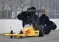 Feb 9, 2020; Pomona, CA, USA; NHRA top fuel driver Shawn Langdon during the Winternationals at Auto Club Raceway at Pomona. Mandatory Credit: Mark J. Rebilas-USA TODAY Sports