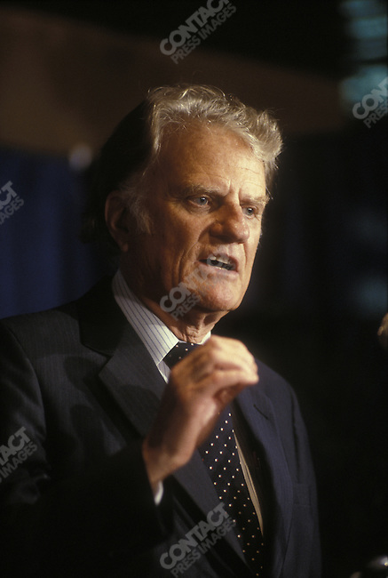 Reverend Billy Graham speaks at the National Religious Broadcasters Convention, Washington, D.C., February 1988.