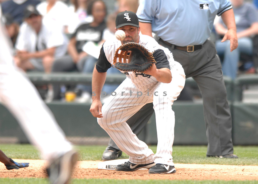 PAUL KONERKO, of the Chicago  White Sox , in action during the  White Sox  game against the Chicago Cubs  in Chicago, IL, on June 24,  2007...Cubs  win 3-0...DAVID DUROCHIK / SPORTPICS.