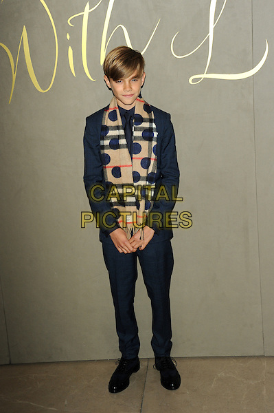 LONDON, ENGLAND - NOVEMBER 3: Romeo Beckham attends the Burberry Festive Film Premiere at Burberry Regent Street on November 3, 2015 in London, England.<br /> CAP/CJ<br /> &copy;CJ/Capital Pictures