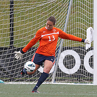 Pepperdine University goalkeeper Roxanne Barker (13). Pepperdine University defeated Boston College,1-0, at Soldiers Field Soccer Stadium, on September 29, 2012.