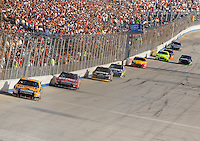 Sept. 21, 2008; Dover, DE, USA; Nascar Sprint Cup Series driver Matt Kenseth leads teammate Carl Edwards during the Camping World RV 400 at Dover International Speedway. Mandatory Credit: Mark J. Rebilas-