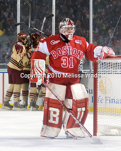 Kieran Millan (BU - 31) - The Boston University Terriers defeated the Boston College Eagles 3-2 on Friday, January 8, 2010, at Fenway Park in Boston, Massachusetts, as part of the Sun Life Frozen Fenway doubleheader.