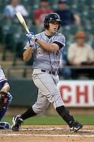 Omaha Storm Chaser third baseman Mike Moustakas at bat against the Round Rock Express in Pacific Coast League baseball on Monday April 11th, 2011 at Dell Diamond in Round Rock Texas.  (Photo by Andrew Woolley / Four Seam Images)