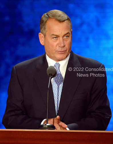 Speaker of the United States House of Representatives John Boehner (Republican of Ohio) makes remarks at the 2012 Republican National Convention in Tampa Bay, Florida on Tuesday, August 28, 2012.  .Credit: Ron Sachs / CNP.(RESTRICTION: NO New York or New Jersey Newspapers or newspapers within a 75 mile radius of New York City)