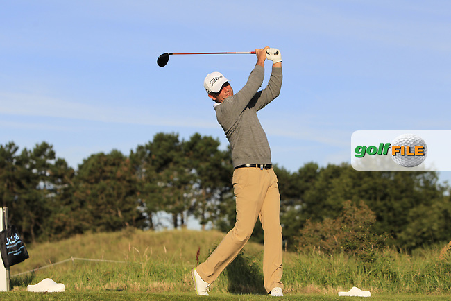 Sven Struver (GER) on the 2nd tee during Round 1 of the 2015 KLM Open at the Kennemer Golf &amp; Country Club in The Netherlands on 10/09/15.<br /> Picture: Thos Caffrey | Golffile