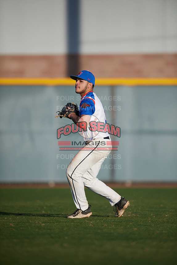 Nicholas LoMonaco (2) of William Floyd High School in Shirley, New York during the Baseball Factory All-America Pre-Season Tournament, powered by Under Armour, on January 13, 2018 at Sloan Park Complex in Mesa, Arizona.  (Mike Janes/Four Seam Images)