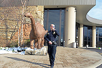 """Officer Joe, the security guard at the Creation Museum, is seen outside the museum in Petersburg, Kentucky on January 3, 2013.  The Creation Museum teaches the difference between """"man's law"""" and """"god's law,"""" disputing evolution, evolutionary science and other teachings that eschew the Bible."""