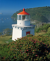 Humbolt County, CA: Morning sun on the Trinidad Memorial Lighthouse and the north California coastline