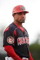 Batavia Muckdogs manager Angel Espada (4) during a game against the Mahoning Valley Scrappers on June 22, 2015 at Dwyer Stadium in Batavia, New York.  Mahoning Valley defeated Batavia 15-11.  (Mike Janes/Four Seam Images)