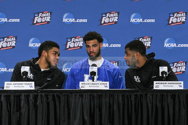Center Karl-Anthony Towns, Willie Cauley-Stein and Guard Andrew Harrison of the Kentucky Wildcats talk during their post game press conference during the Final Four of the 2015 NCAA Men's Basketball Tournament at Lucas Oil Stadium on Saturday, April 4, 2015 in Indianapolis, In.  Photo by Jonathan Krueger | Staff.