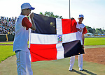 2 July 2011: Members of a visiting Dominican Republic youth Team hold their flag during the playing of their national anthem prior to a game between the Vermont Lake Monsters and the Tri-City ValleyCats at Centennial Field in Burlington, Vermont. The Lake Monsters rallied from a 4-2 deficit to defeat the ValletCats 7-4 in NY Penn League action. Mandatory Credit: Ed Wolfstein Photo