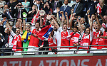 Per Mertesacker of Arsenal lifts the FA Cup during the Emirates FA Cup Final match at Wembley Stadium, London. Picture date: May 27th, 2017.Picture credit should read: David Klein/Sportimage