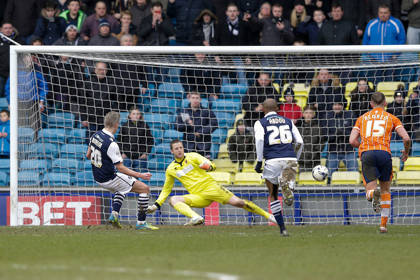 GOAL - Millwall's Steve Morison scores his sides third goal from the penalty spot<br /> <br /> Photographer Craig Mercer/CameraSport<br /> <br /> Football - The Football League Sky Bet League One - Millwall v Blackpool - Saturday 5th March 2016 - The Den - Millwall<br /> <br /> &copy; CameraSport - 43 Linden Ave. Countesthorpe. Leicester. England. LE8 5PG - Tel: +44 (0) 116 277 4147 - admin@camerasport.com - www.camerasport.com