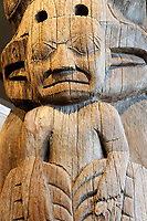 Detail of Haida house frontal totem pole Museum of Anthropology MOA, University of British Columbia, Canada