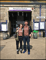BNPS.co.uk (01202 558833)<br /> Pic: AllTheStations/BNPS<br /> <br /> Penzance station.<br /> <br /> A pair of railway enthusiasts are on an epic train journey to become the first people to visit every station in Britain. <br /> <br /> Eccentrics Geoff Marshall, 44, and Vicki Pipe, 34, are three weeks into the adventure, which will see them visit 2,563 stations in just three months. <br /> <br /> The couple of seven years from London began in Penzance and have already visited 750 stations, covering the entire South, South West and much of London. <br /> <br /> After visiting an average of 30 stations per day their trip will conclude in August in Thurso, the British mainland's most northernmost town.