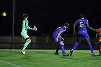 Luke McLeavey of Romford scores the first goal for his team and celebrates during Romford vs Brentwood Town, Velocity Trophy Football at the Brentwood Centre on 8th October 2019