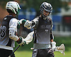 Jake Maguffin #7 of the New York All Greys (Commack HS), right, congratulates Thomas Sangiovanni #23 (Harborfields HS) after he scored a goal in a Warrior Lacrosse Classic Class of 2019 tournament game against Team Central (Massachusetts) at Hofstra University on Sunday, July 17, 2016. The All Greys won by a score of 12-4.