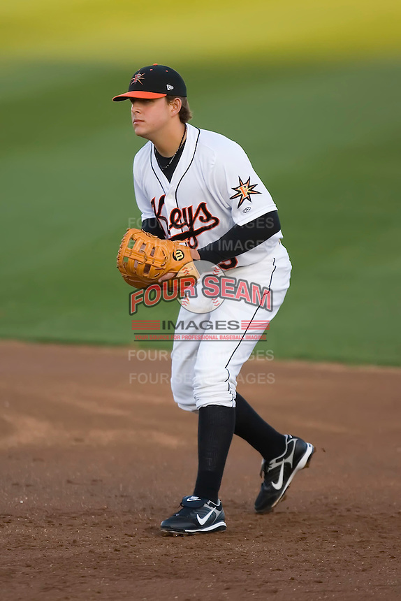 First baseman Brandon Snyder (29) of the Frederick Keys on defense versus the Salem Avalanche at Harry Grove Stadium in Frederick, MD, Tuesday, April 15, 2008.