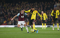 Watford's Etienne Capoue and Burnley's Ashley Westwood<br /> <br /> Photographer Rob Newell/CameraSport<br /> <br /> The Premier League - Watford v Burnley - Saturday 23rd November 2019 - Vicarage Road - Watford <br /> <br /> World Copyright © 2019 CameraSport. All rights reserved. 43 Linden Ave. Countesthorpe. Leicester. England. LE8 5PG - Tel: +44 (0) 116 277 4147 - admin@camerasport.com - www.camerasport.com