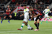 Onel Hernandez of Norwich City under pressure from Simon Francis of Bournemouth during AFC Bournemouth vs Norwich City, Caraboa Cup Football at the Vitality Stadium on 30th October 2018
