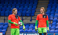 Goalkeeper Loris Karius (left) of Liverpool & Goalkeeper Ádam Bogdan of Liverpool smile during warm up during the 2016/17 Pre Season Friendly match between Tranmere Rovers and Liverpool at Prenton Park, Birkenhead, England on 8 July 2016. Photo by PRiME Media Images.