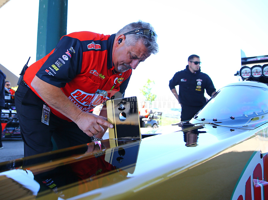 May 21, 2017; Topeka, KS, USA; Joe Barlam , crew chief for NHRA top fuel driver Leah Pritchett during the Heartland Nationals at Heartland Park Topeka. Mandatory Credit: Mark J. Rebilas-USA TODAY Sports