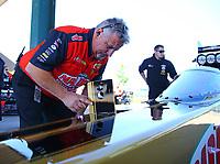 May 21, 2017; Topeka, KS, USA; Joe Barlam , crew chief for NHRA top fuel driver Leah Pritchett during the Heartland Nationals at Heartland Park Topeka. Mandatory Credit: Mark J. Rebilas-USA TODAY Sports