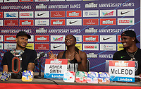 Andre De Grasse (Canada) – 100m - Triple Olympic medallist (100m/200m/4x100m) Dina Asher-Smith (Great Britain) – 100m - Triple European champion & multi-global medallist and Omar McLeod (Jamaica) – 110m hurdles - Olympic & world champion during the Muller Anniversary Games 2019 pre-event media day at the Leonardo Royal Hotel, Prescod Street, England on 19 July 2019. Photo by Alan  Stanford.