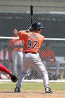 Baltimore Orioles minor league player Kyle Hoppy #97 during a spring training game vs the Boston Red Sox at the Buck O'Neil Complex in Sarasota, Florida;  March 22, 2011.  Photo By Mike Janes/Four Seam Images