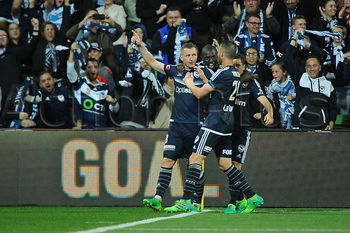 30th April 2017, AAMI Park, Melbourne, Australia; Hyundai A-League Football; Melbourne Victory versus Brisbane Roar FC; Besart Berisha of the Melbourne Victory celebrates with team mates after kicking a goal to put the Melbourne Victory ahead; 1-0
