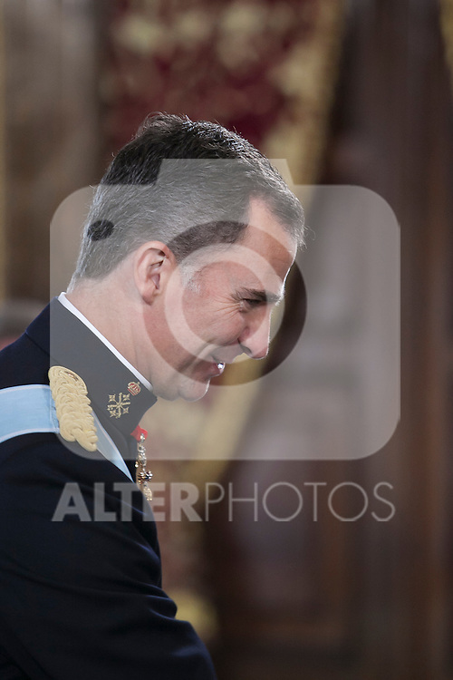King Felipe VI of Spain during a meeting with foreign Ambassadors at Royal Palace in Madrid, Spain. December 16, 2015. (ALTERPHOTOS/Victor Blanco)