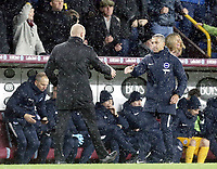 Burnley manager Sean Dyche shakes hands with Brighton & Hove Albion manager Chris Hughton at the final whistle<br /> <br /> Photographer Rich Linley/CameraSport<br /> <br /> The Premier League - Burnley v Brighton and Hove Albion - Saturday 8th December 2018 - Turf Moor - Burnley<br /> <br /> World Copyright © 2018 CameraSport. All rights reserved. 43 Linden Ave. Countesthorpe. Leicester. England. LE8 5PG - Tel: +44 (0) 116 277 4147 - admin@camerasport.com - www.camerasport.com