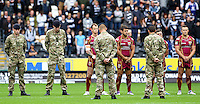 PICTURE BY ALEX WHITEHEAD/SWPIX.COM - Rugby League - Super League - Hull FC v Huddersfield Giants - KC Stadium, Hull, England - 01/07/12 - A moment of silence is observed before kick-off.