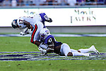 Samford Bulldogs running back Krondis Larry (17) and TCU Horned Frogs linebacker Paul Dawson (47) in action during the game between the Samford Bulldogs and the TCU Horned Frogs at the Amon G. Carter Stadium in Fort Worth, Texas.  TCU leads Stamford 24 to 7 at halftime.