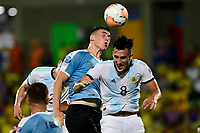 BUCARAMANGA – COLOMBIA, 03-02-2020: Nicolas Capaldo de Argentina disputa el balón con Joaquin Piquerez de Uruguay durante partido entre Argentina U-23 y Uruguay U-23 por el cuadrangular final como parte del torneo CONMEBOL Preolímpico Colombia 2020 jugado en el estadio Alfonso Lopez en Bucaramanga, Colombia. / Nicolas Capaldo of Argentina fights the ball with Joaquin Piquerez of Uruguay during the match between Argentina U-23 and Uruguay U-23 for for the final quadrangular as part of CONMEBOL Pre-Olympic Tournament Colombia 2020 played at Alfonso Lopez stadium in Bucaramanga, Colombia. Photo: VizzorImage / Julian Medina / Cont