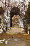 Abandoned Coast Guard barracks on Winter Island Maritime Park in Salem, Massachusetts USA during the winter months
