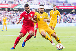 Massimo Luongo of Australia (R) fights for the ball with Tareq Khattab of Jordan (L) during the AFC Asian Cup UAE 2019 Group B match between Australia (AUS) and Jordan (JOR) at Hazza Bin Zayed Stadium on 06 January 2019 in Al Ain, United Arab Emirates. Photo by Marcio Rodrigo Machado / Power Sport Images