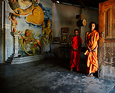 SRI LANKA, Asia, portrait of two young monks standing in the Pidurangala Temple