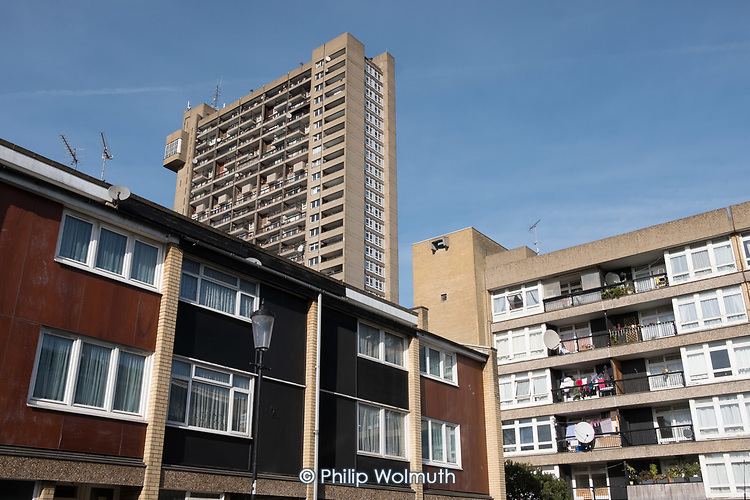 Trellick Tower and Cheltenham (Edenham) Estate, North Kensington.  Both designed by architect Erno Goldfinger.