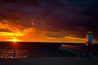 16 August 2008  Lindsy Laway, Charlevoix, Michigan.Sunset and lighthouse on Lake Michigan, 8.16.08...©F.Peirce Williams 2008.F. Peirce Williams .photography.P.O.Box 455 Eaton, OH 45320.p: 317.358.7326  e: fpwp@mac.com.