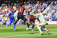 Kasper Schmeichel of Leicester City gets to the ball before Nathan Ake of AFC Bournemouth during AFC Bournemouth vs Leicester City, Premier League Football at the Vitality Stadium on 15th September 2018